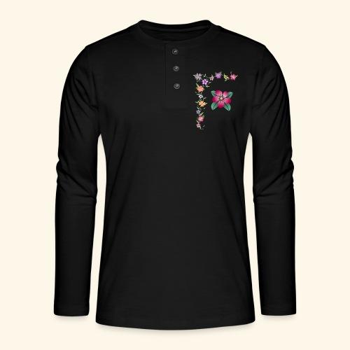 Blumenranke, Blumen, Blüten, floral, blumig, bunt - Henley Langarmshirt