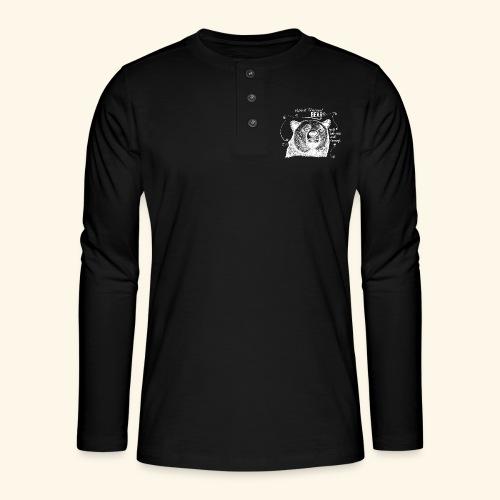 Spirit Animal Bär weiß - Henley Langarmshirt