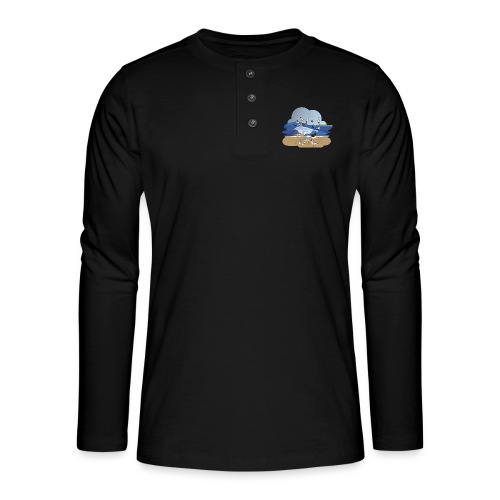 See... birds on the shore - Henley long-sleeved shirt