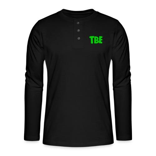 Logo groen - Henley shirt met lange mouwen