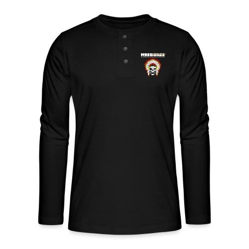 calavera o craneo con penacho de plumas vampiresco - Camiseta panadera de manga larga Henley