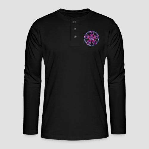 Treble Clef Mandala (red/violet/blue) - Henley long-sleeved shirt