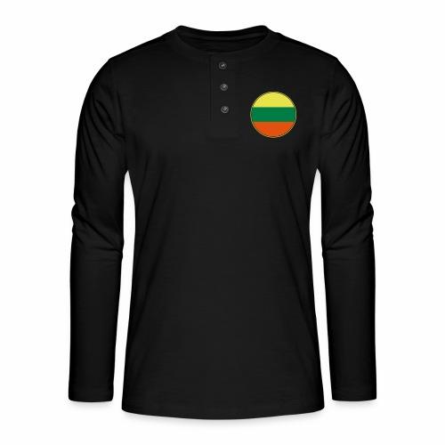 Litauen Flagge Rund Pixellamb - Henley Langarmshirt