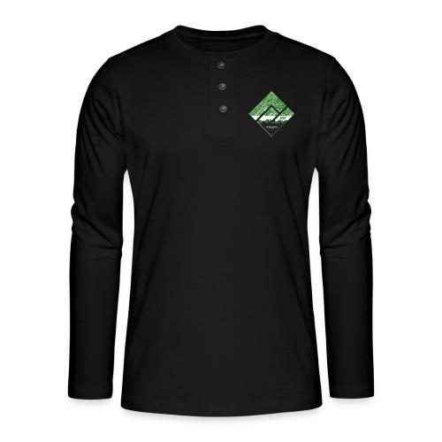 Manjaro Circuit Logo v3 (white frame) - Henley long-sleeved shirt