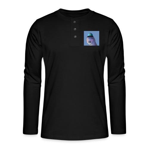 Jusun kanavan logo taustalla - Henley pitkähihainen paita