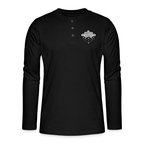 nuage blanc et flocons vacances d'hiver - T-shirt manches longues Henley