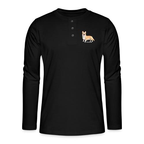 Topi the Corgi - White text - Henley long-sleeved shirt