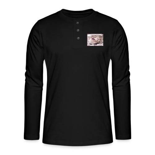 CAT SURROUNDED BY MICE AND BUTTERFLIES. - Henley long-sleeved shirt