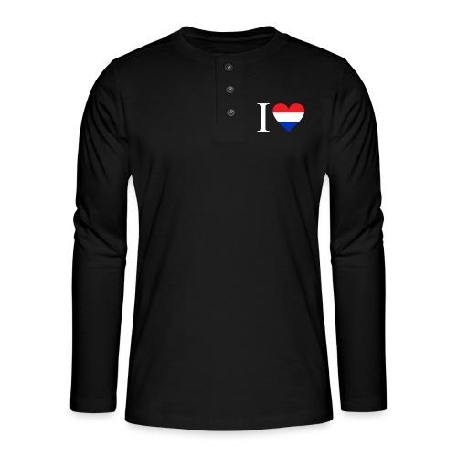 Ik hou van Nederland | Hart met rood wit blauw - Henley shirt met lange mouwen