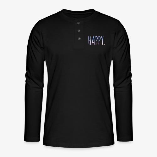 Happy - Watercolor Style - Typo - Henley Langarmshirt