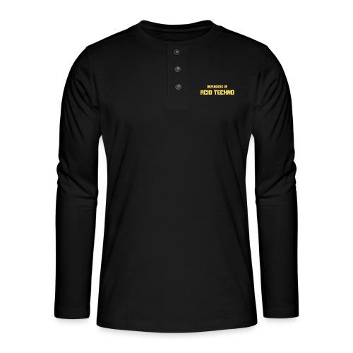 Defenders of Acid Techno [Yellow Print] - Henley long-sleeved shirt