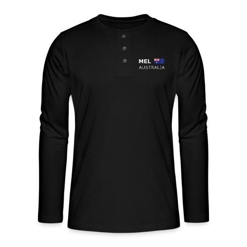 MEL AUSTRALIA white-lettered 400 dpi - Henley long-sleeved shirt