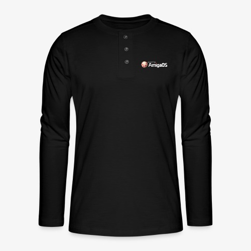 PoweredByAmigaOS white - Henley long-sleeved shirt