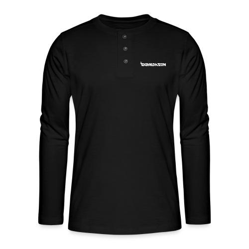 DJ logo hvid - Henley T-shirt med lange ærmer