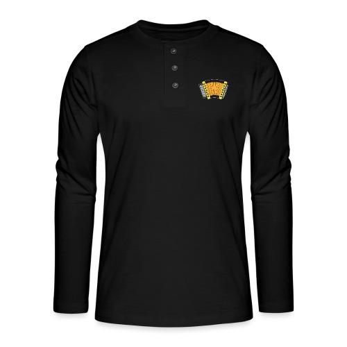 Schwyzerörgeli gelb schwarzer Hintergrund - Henley Langarmshirt