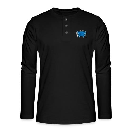 Schwyzerörgeli blau schwarzer Hintergrund - Henley Langarmshirt
