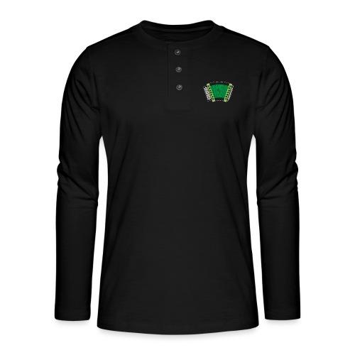 Schwyzerörgeli grün schwarzer Hintergrund - Henley Langarmshirt