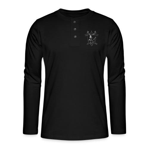 Naisten T-paita, valkoinen logo - Henley pitkähihainen paita
