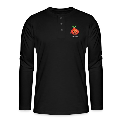 mens black T-shirt Ollie the Onion - Henley long-sleeved shirt