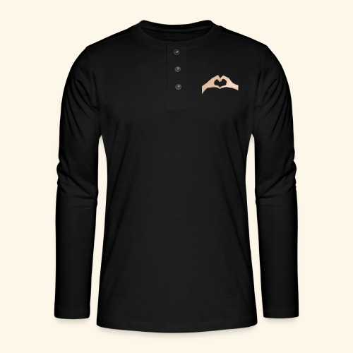 Mains Coeur Amour - Love hands - T-shirt manches longues Henley