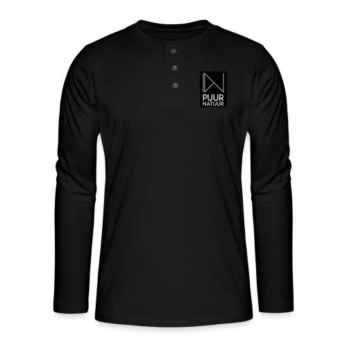 Logo puur natuur negatief - Henley shirt met lange mouwen