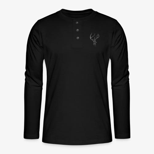 Deer head hertenkop gewei - Henley shirt met lange mouwen