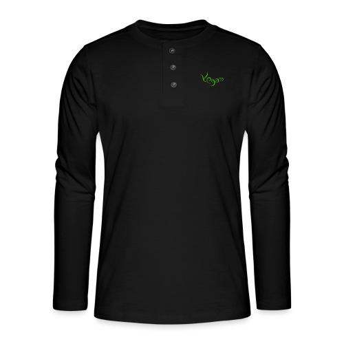Vegaani käsinkirjoitettu design - Henley pitkähihainen paita