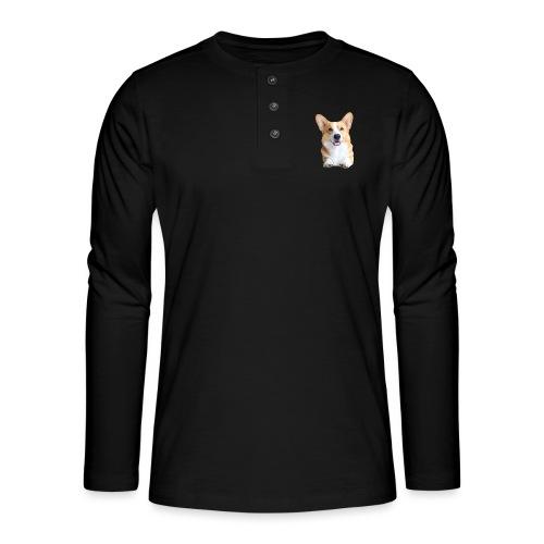 Topi the Corgi - Frontview - Henley long-sleeved shirt