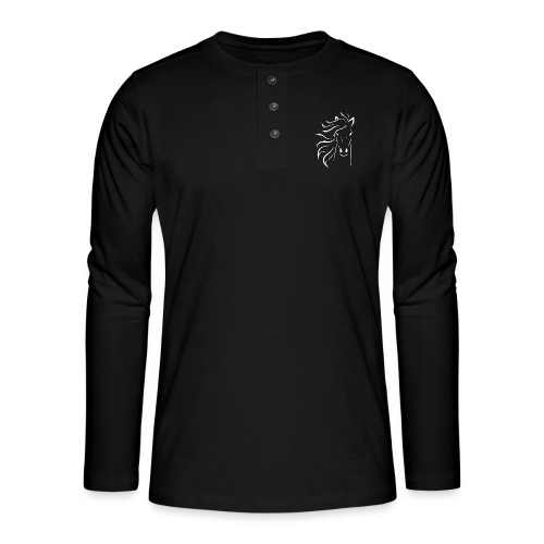 pferd silhouette - Henley Langarmshirt