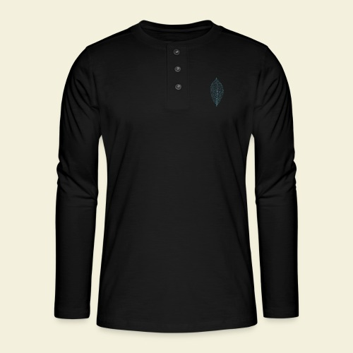 Feuille bleu Squelette - T-shirt manches longues Henley