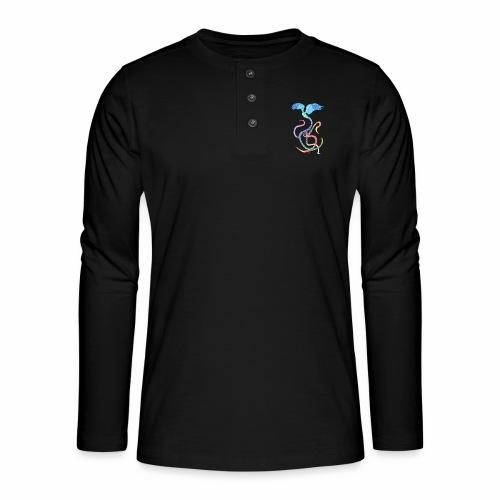 Gracieux - Oiseau arc-en-ciel à l'encre - T-shirt manches longues Henley