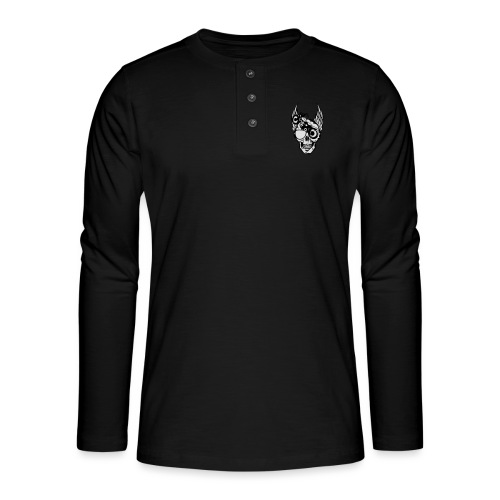 tete mort moto skull aile motard oeil - T-shirt manches longues Henley
