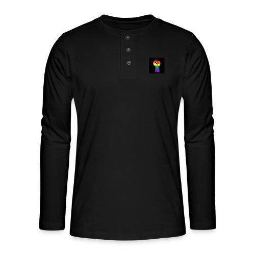 Lgbt Faust Protest schwarzer Hintergrund - Henley Langarmshirt