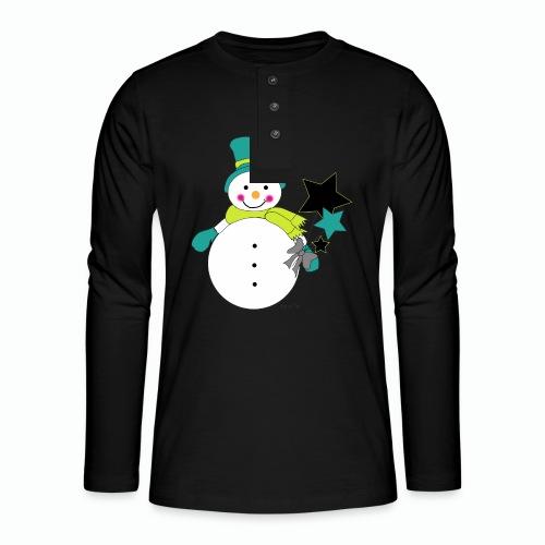 Snowtime-Green - Henley Langarmshirt