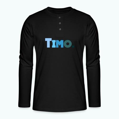 Timo in blauwe tinten - Henley shirt met lange mouwen