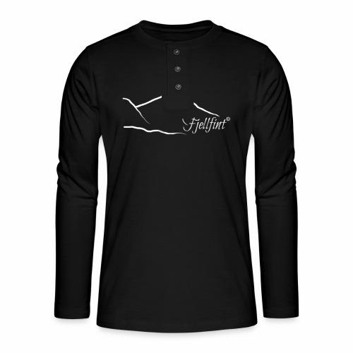 Hvit rektangulær logo - Henley langermet T-skjorte
