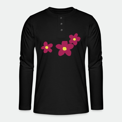 Three Flowers - Henley long-sleeved shirt