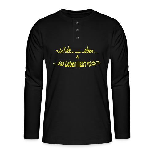 Ich-liebe-das-Leben-gelb - Henley Langarmshirt