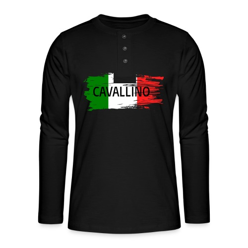 Cavallino auf Flagge - Henley Langarmshirt