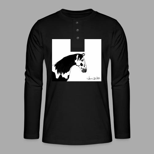 Pferdekopf mit Unterschrift - Henley Langarmshirt