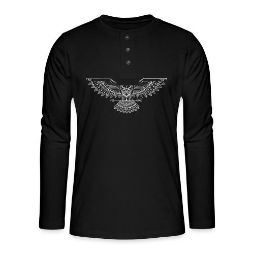 grafische uil wit - Henley shirt met lange mouwen