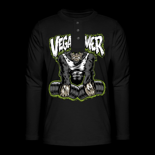 veganpower Muskel Gorilla - Henley Langarmshirt
