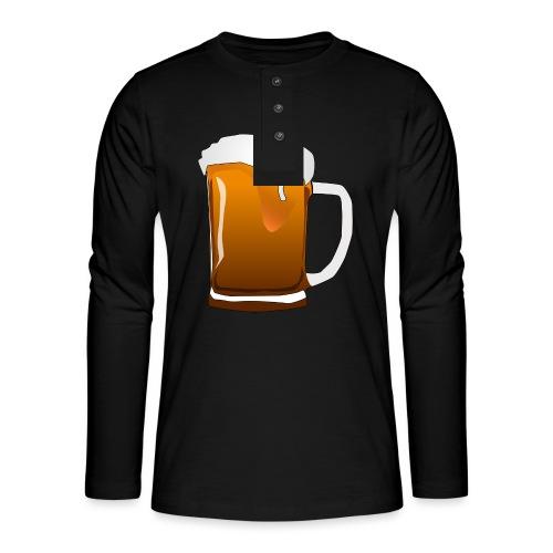 Cartoon Bier Geschenkidee Biermaß - Henley Langarmshirt