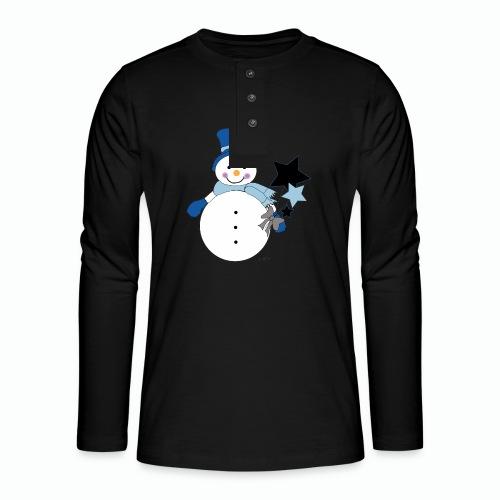 Snowtime-Blue - Henley Langarmshirt