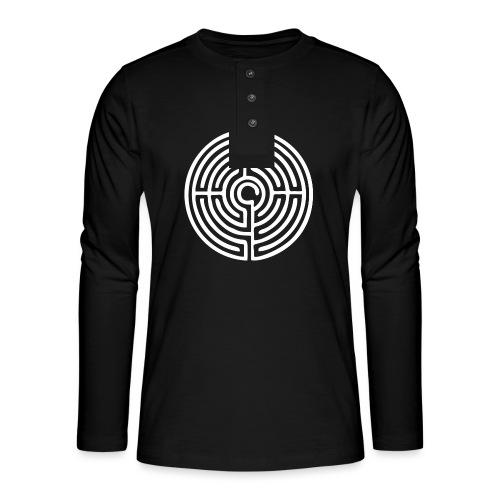Labyrinth Schutzsymbol Lebensweg Magie Mystik - Henley Langarmshirt