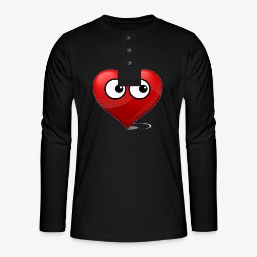cœur avec yeux - T-shirt manches longues Henley