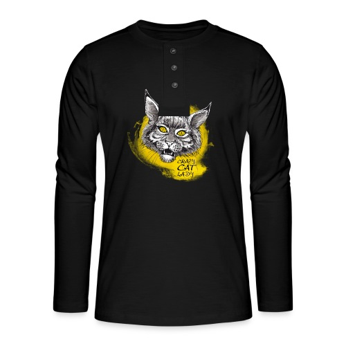 crazy cat lady - Henley Langarmshirt