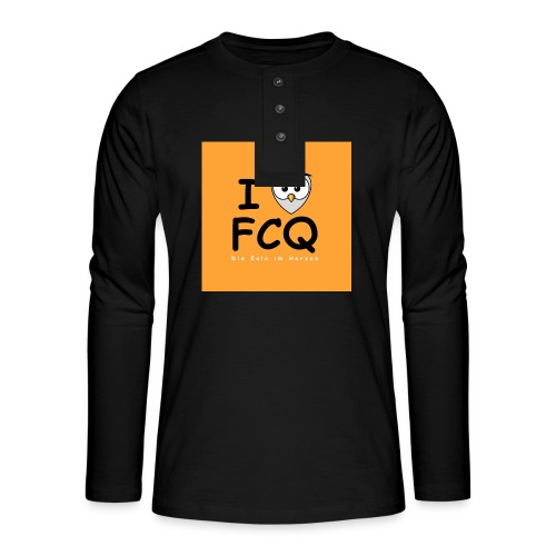 I Love FCQ button orange - Henley Langarmshirt