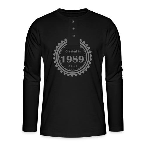 Retro Logo - Henley Langarmshirt