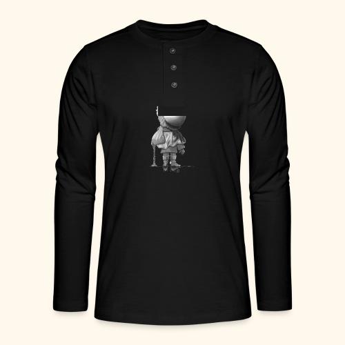 Unser Sandmännchen von hinten - schwarz - Henley Langarmshirt